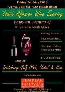 South African Wine Evening - 3rd May 2019