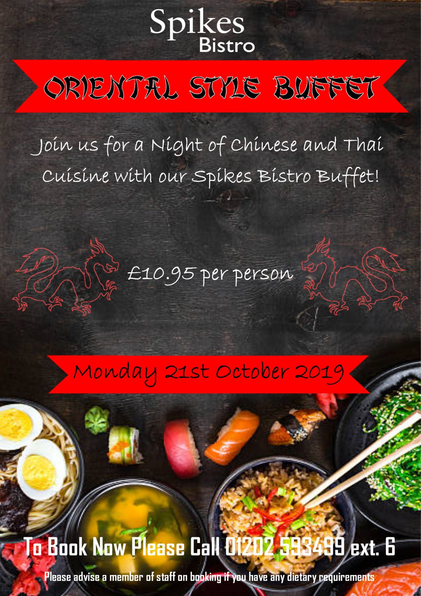 oriental style buffet in spikes bistro   dudsbury golf club